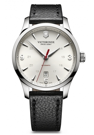VICTORINOX SWISS ARMY Alliance Mechanical Automatic Silver Dial Leather Mens Watch 241666