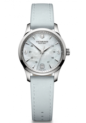 VICTORINOX SWISS ARMY Alliance Small Mother of Pearl Dial Leather Strap Ladies Watch 241661 30mm