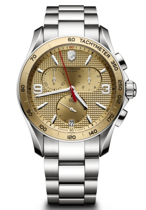 VICTORINOX SWISS ARMY Chrono Classic Champagne Dial Steel Bracelet Mens Watch 241658 41mm