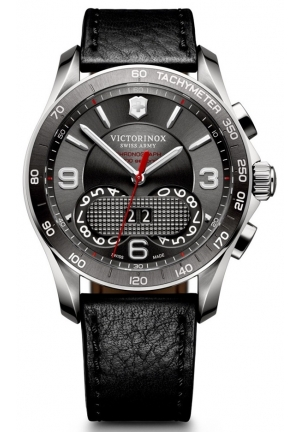VICTORINOX SWISS ARMY Chrono Classic Dark Grey Dial Black Leather Mens Watch 241616 41mm