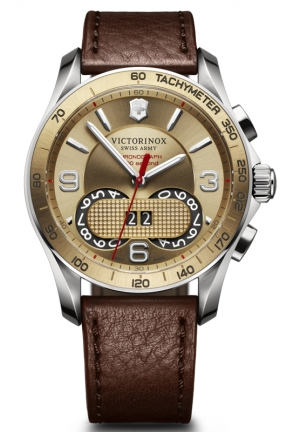VICTORINOX SWISS ARMY Chrono Classic Gold Dial Brown Leatherl Mens Watch 241617 41mm