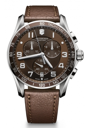 VICTORINOX SWISS ARMY hrono Classic XLS Brown Dial Brown Leather Mens Watch 241653 45mm