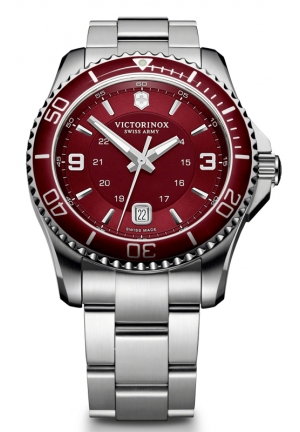 VICTORINOX SWISS ARMY Maverick GS Red Dial Stainless Steel Mens Watch 241604 43mm