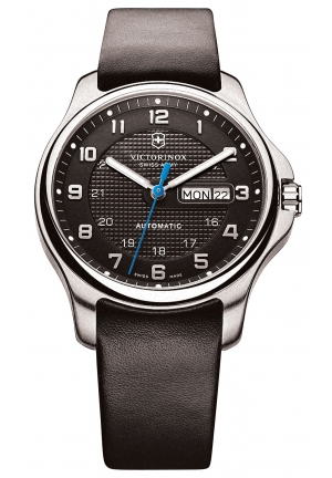 VICTORINOX SWISS ARMY Men's Automatic Officer's Black Leather Strap 40mm