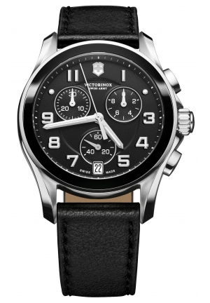VICTORINOX SWISS ARMY Men's Chronograph Black Leather Strap 241493 41mm