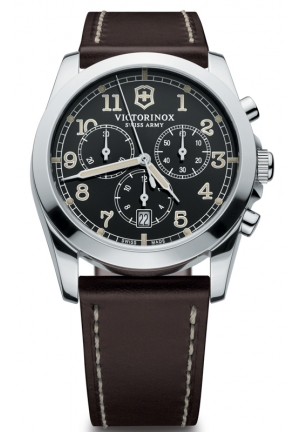 VICTORINOX SWISS ARMY Men's Infantry Chronograph Brown Leather Strap 241567 40mm