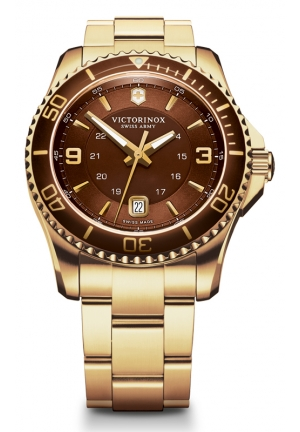 VICTORINOX SWISS ARMY Men's Maverick GS Gold-PVD Stainless Steel Bracelet 241607 43mm