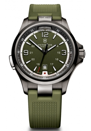 VICTORINOX SWISS ARMY Men's Night Vision Green Rubber Strap 241595 42mm