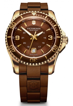 VICTORINOX SWISS ARMY Swiss Army Maverick GS Brown Dial Brown Rubber Mens Watch 241608 43mm