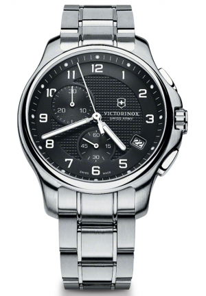 VICTORINOX SWISS ARMY Swiss Army Officers Black Dial Stainless Steel Mens Watch 241592 42mm