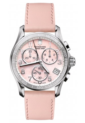 VICTORINOX SWISS ARMY Women's Chronograph Pink Leather Strap 241419 41mm