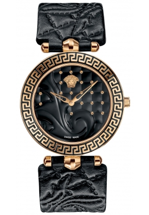 VERSACE Swiss Vanitas Black Calfskin Leather Strap 40mm