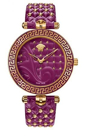 VANITAS ANALOG DISPLAY SWISS QUARTZ PURPLE LADIES WATCH , 40MM
