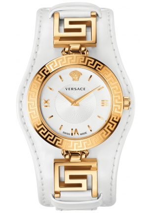 VERSACE Swiss V-Signature White Leather Strap Watch 35mm