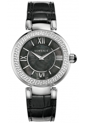 VERSACE Swiss V-Pearl Black Leather Strap Watch 38mm