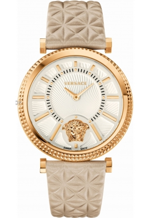 VERSACE V-Helix Ivory Dial Leather Ladies Watch