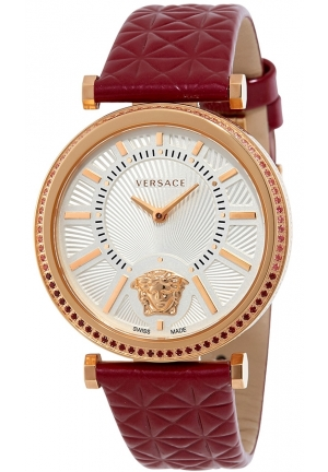 VERSACE V-Helix Silver Dial Ladies Burgundy Leather Watch