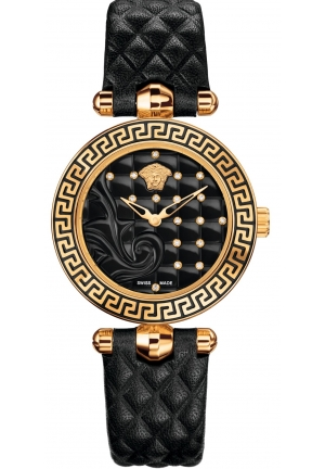 VANITAS DIAMONDS BLACK LEATHER LADIES WATCH , 30MM
