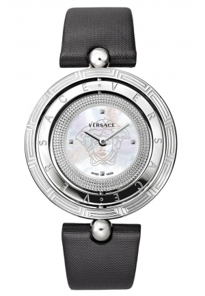 VERSACE EON STAINLESS STEEL BLACK LEATHER, 39MM