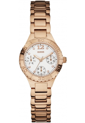 GUESS  Women's Petite Sporty Radiance Rose Gold-Tone Crystal Watch