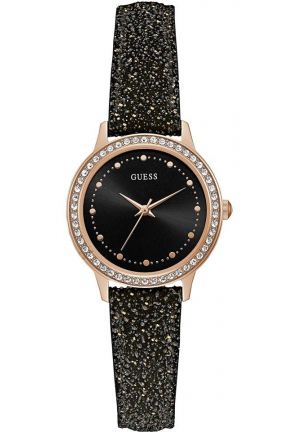 Guess Black Leather Glitter Chelsea Ladies Watch