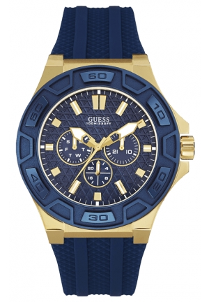 Guess 45mm Gold Plated Stainless Steel Case Blue Rubber Mineral Men's Watch