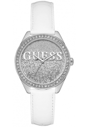 Guess Ladies Glitter Girl White Leather Watch
