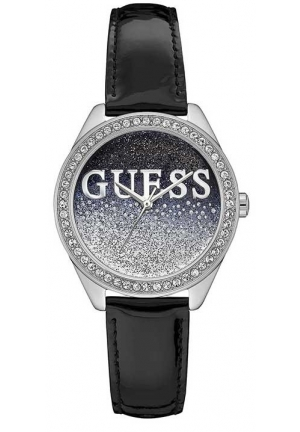 Guess Ladies Glitter Girl Black Leather Watch