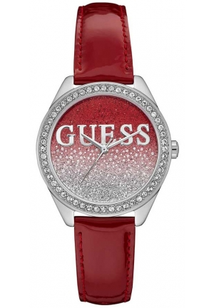 Guess Ladies Glitter Girl Red Leather Watch