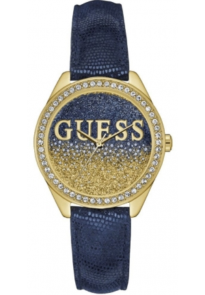 Guess Ladies Glitter Girl Blue Leather Watch