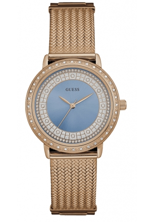 WATCH GUESS WOMEN BLUE WILLOW Rose Gold PLATED STEEL