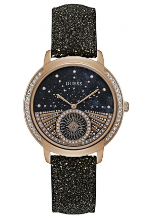 GUESS BLACK GLITTER LEATHER UNISEX WATCH 38MM
