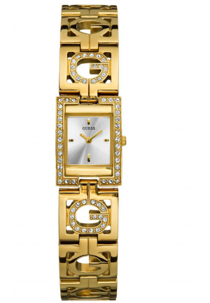 GOLD STAINLESS-STEEL QUARTZ WATCH WITH SILVER DIAL 18 X 18MM