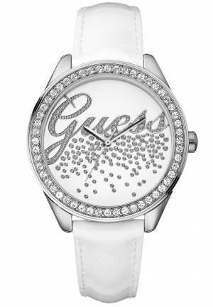 Guess ladies little party girl white leather watch 35mm