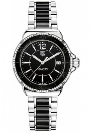 women's Formula 1 Diamond (1/3 ct. t.w.) Black Ceramic and Stainless Steel Bracelet 37mm WAH1212.BA0859