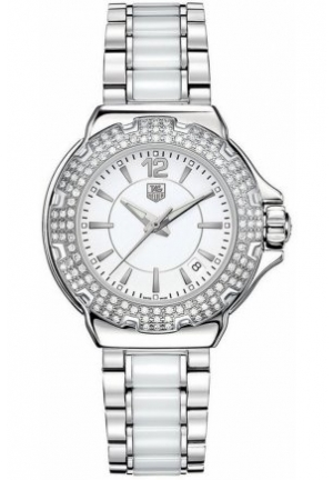 Women's Swiss Formula 1 Diamond (3/4 ct. t.w.) Stainless Steel and White Ceramic Bracelet 37mm WAH1215.BA0861