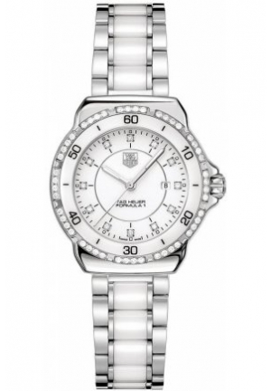 Women's Swiss Formula 1 Diamond (1/3 ct. t.w.) Stainless Steel and White Ceramic Bracelet 32mm WAH1313.BA0868