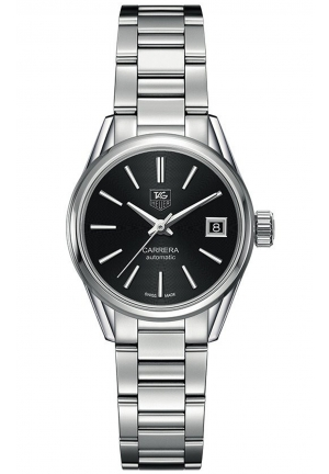 CARRERA AUTOMATIC BLACK DIAL STAINLESS STEEL LADIES WATCH 28MM