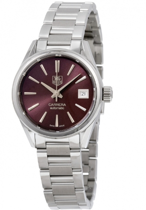 CARRERA CALIBRE 9 BURGUNDY DIAL STAINLESS STEEL AUTOMATIC LADIES WATCH 28MM,WAR2417.BA0776