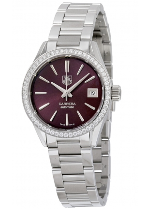 CARRERA MAROON DIAL STAINLESS STEEL LADIES WATCH 28MM