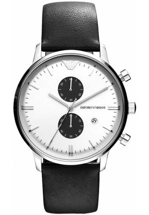 Watch, Chronograph Black Leather Strap 43mm