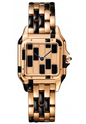 PANTHÈRE DE CATIER WATCH SMALL 18K PINK GOLD MODEL WITH BLACK LACQUER WGPN0010, 22X30MM