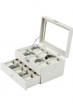 White Leather 20 Watch Box with Drawer Glass Top Lockable Watch Display Case Organizer