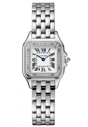 PANTHÈRE DE CATIER WATCH SMALL RHODIUMIZED WHITE GOLD MODEL WITH DIAMONDS WJPN0006, 22X30MM