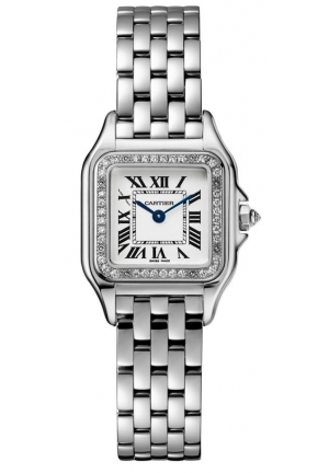 PANTHÈRE DE CATIER WATCH MEDIUM RHODIUMIZED WHITE GOLD MODEL WITH DIAMONDS WJPN0007, 27X37MM