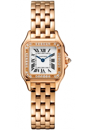 PANTHÈRE DE CATIER WATCH SMALL PINK GOLD MODEL WITH DIAMONDS WJPN0008, 22X30MM