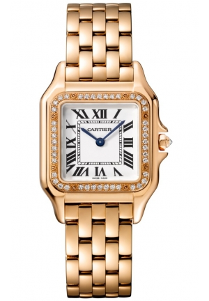 PANTHÈRE DE CATIER WATCH MEDIUM PINK GOLD MODEL WITH DIAMONDS WJPN0009, 27X37MM
