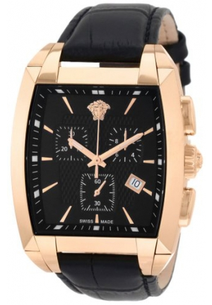 VERSACE Character Tonneau IP Rose Gold Black Dial Chronograph 48.5mm