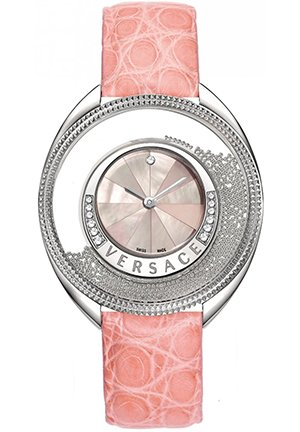 Women's Diamond Mother-Of-Pearl Pink Genuine Crocodile Watch 40mm