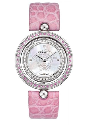 Women's Eon Reversible Sapphire and Diamond Bezel Pink Leather Watch 33mm